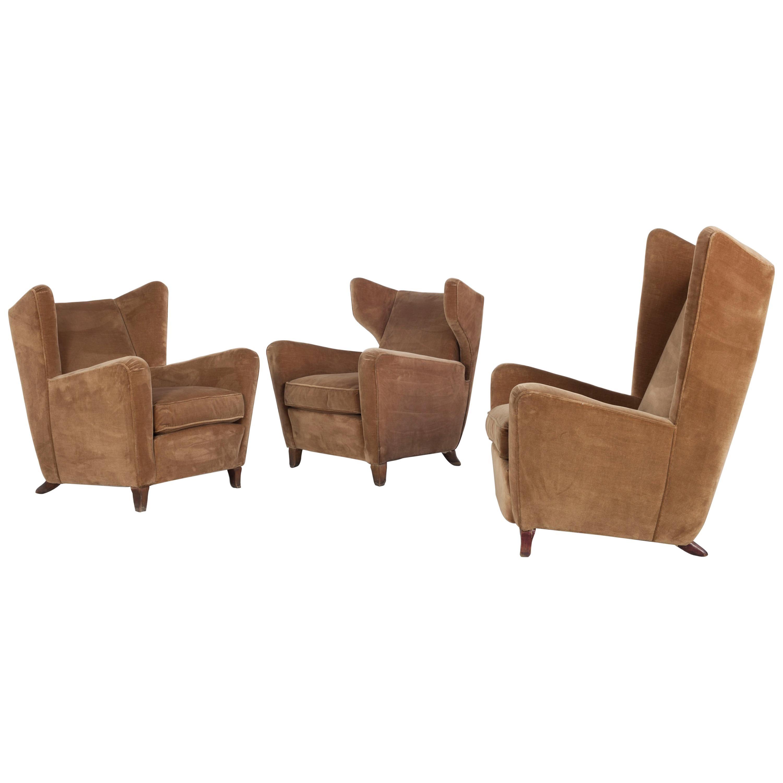Set of Three Velvet Armchair, Melchiorre Bega Attributed, Italy, 1950s