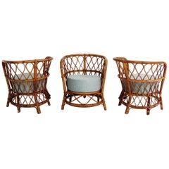 Set of Three Veranda Armchairs by Lio Carminati, Italy, 1950
