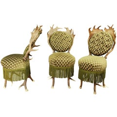 Set of Three Victorian Antler Parlor Chairs, Austria, circa 1880