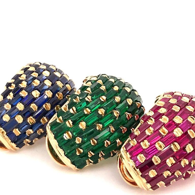 Art Deco Set of Three Vintage 18 Karat Gold Ruby, Emerald, Blue Sapphire Ear Clips For Sale