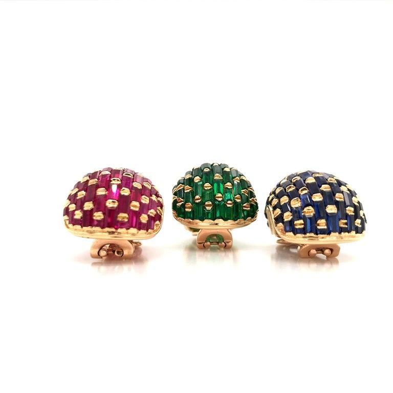 Baguette Cut Set of Three Vintage 18 Karat Gold Ruby, Emerald, Blue Sapphire Ear Clips For Sale