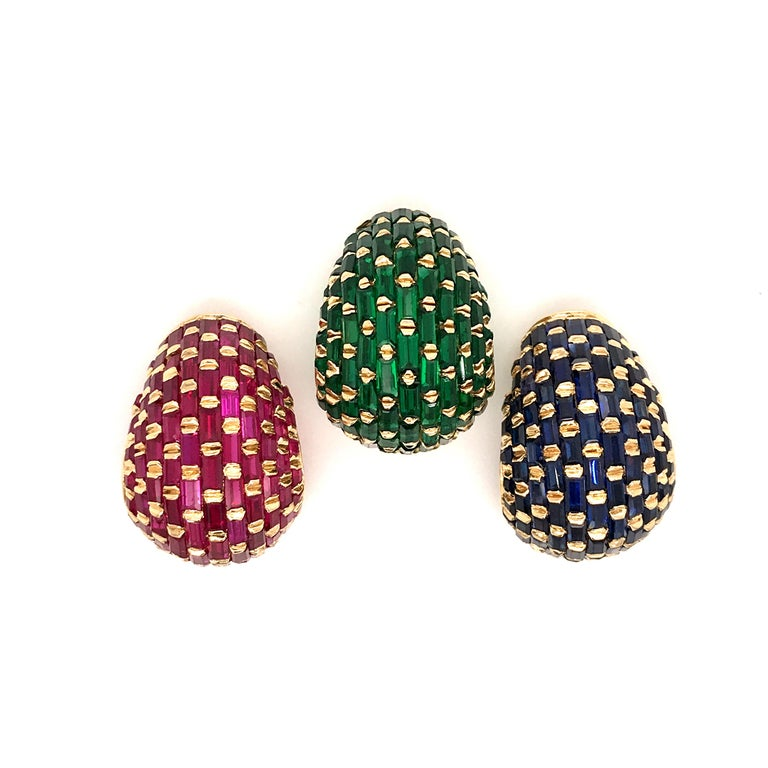 Set of Three Vintage 18 Karat Gold Ruby, Emerald, Blue Sapphire Ear Clips In Excellent Condition For Sale In Westport, CT