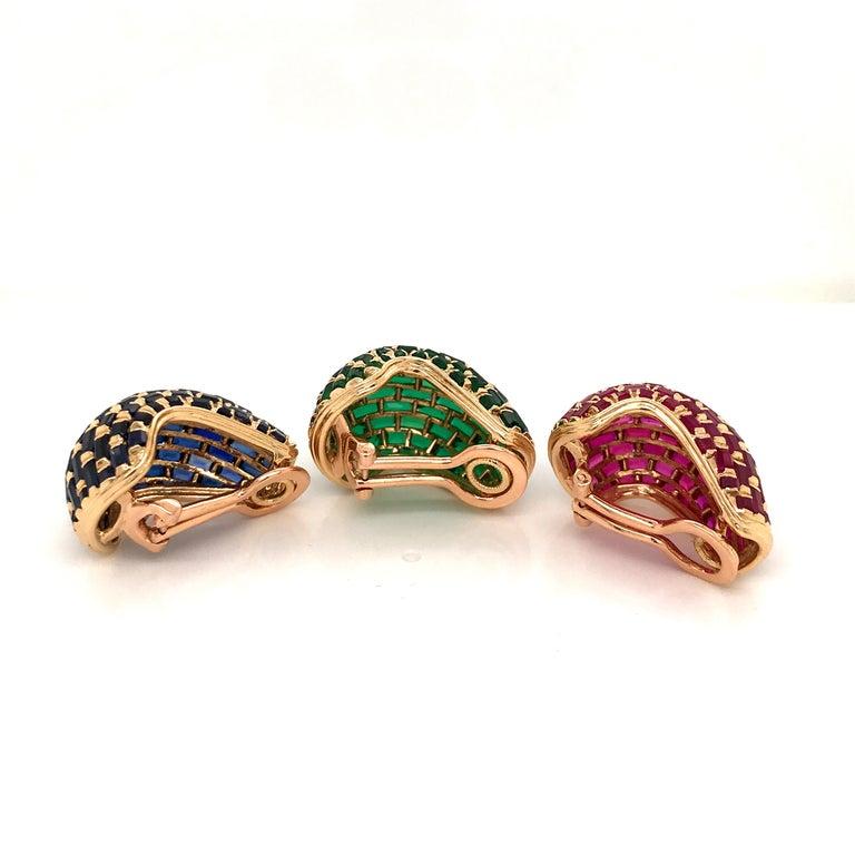 Women's or Men's Set of Three Vintage 18 Karat Gold Ruby, Emerald, Blue Sapphire Ear Clips For Sale