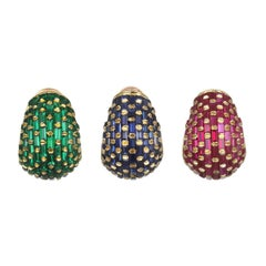 Set of Three Vintage 18 Karat Gold Ruby, Emerald, Blue Sapphire Ear Clips