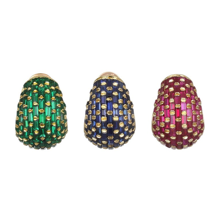Set of Three Vintage 18 Karat Gold Ruby, Emerald, Blue Sapphire Ear Clips For Sale