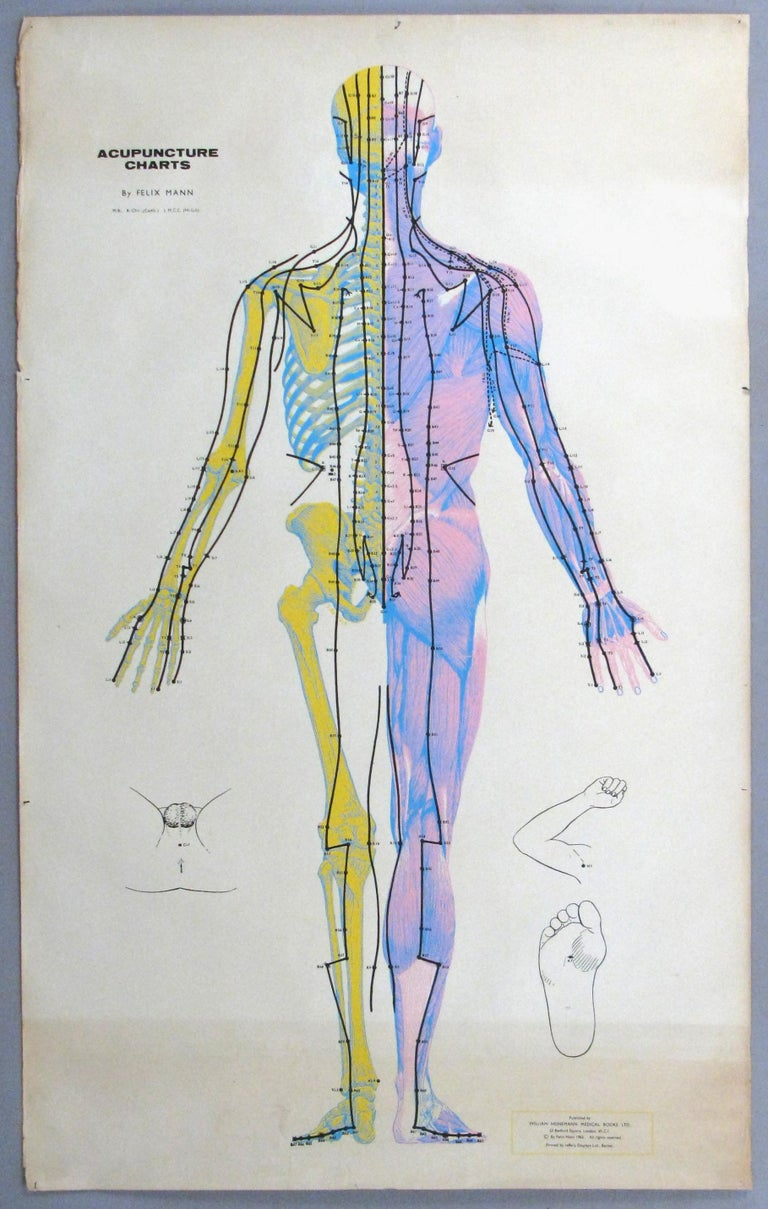 A wonderful set of three vintage 1960s Serigraphs back with Linen of the human body in various poses with detailed acupuncture diagrams by Felix Mann. Visually engaging and in good condition with age expected wear including areas of shading.