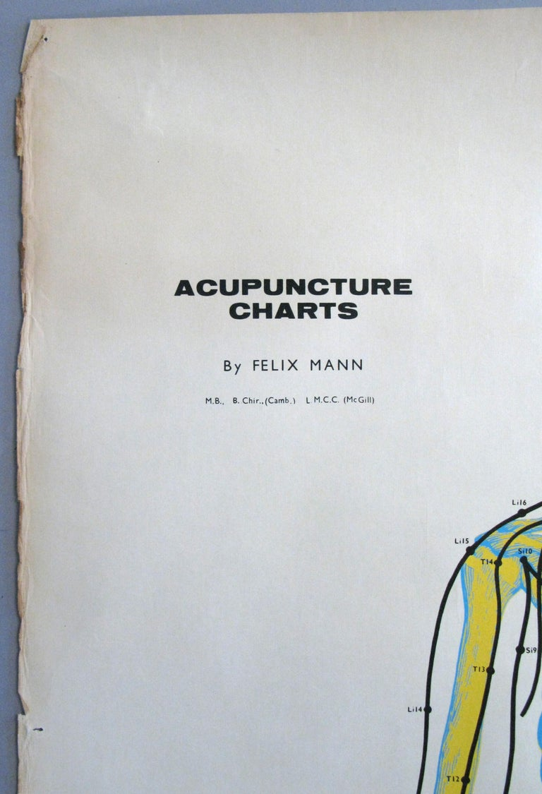 Mid-20th Century Set of Three Vintage Acupuncture Serigraphs on Linen by Felix Mann For Sale