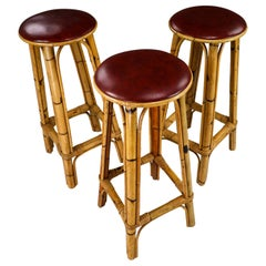 Set of Three Vintage Bamboo Barstools with Red Leather Seat, France, 1950s