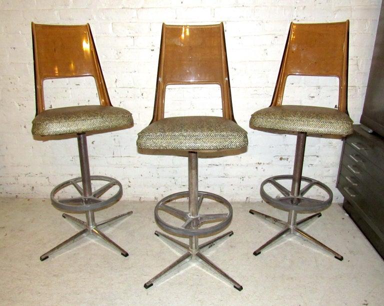 Mid-Century Modern Set of Three Vintage Bar Stools For Sale