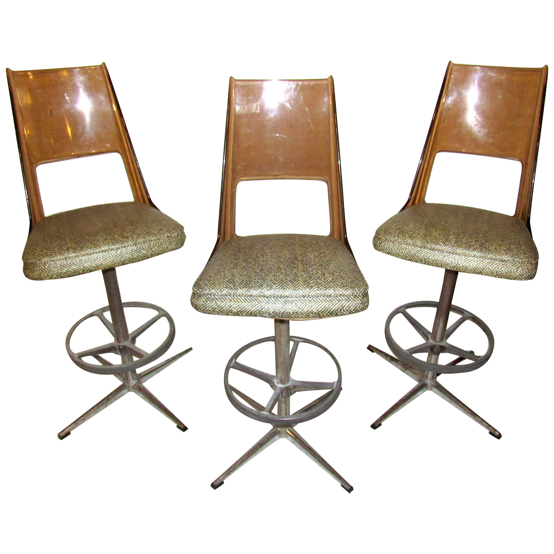 Set of Three Vintage Bar Stools