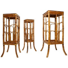 Set of Three Vintage Bohemian Tortoise Shell Bamboo Plant Stand Nesting Tables