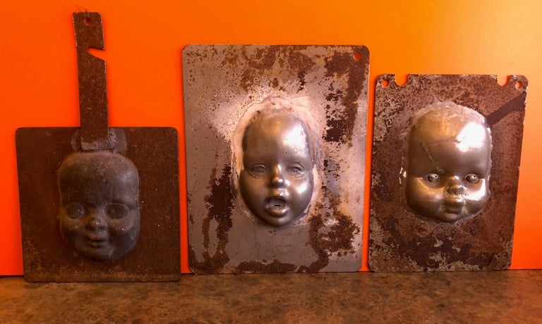 Set of Three Vintage Doll Head / Face Molds Steampunk For Sale 4