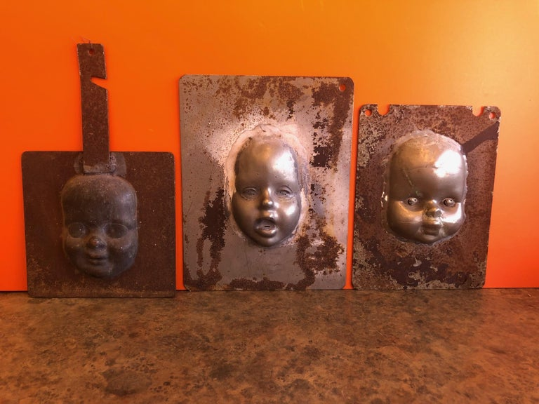 Set of Three Vintage Doll Head / Face Molds Steampunk For Sale 5