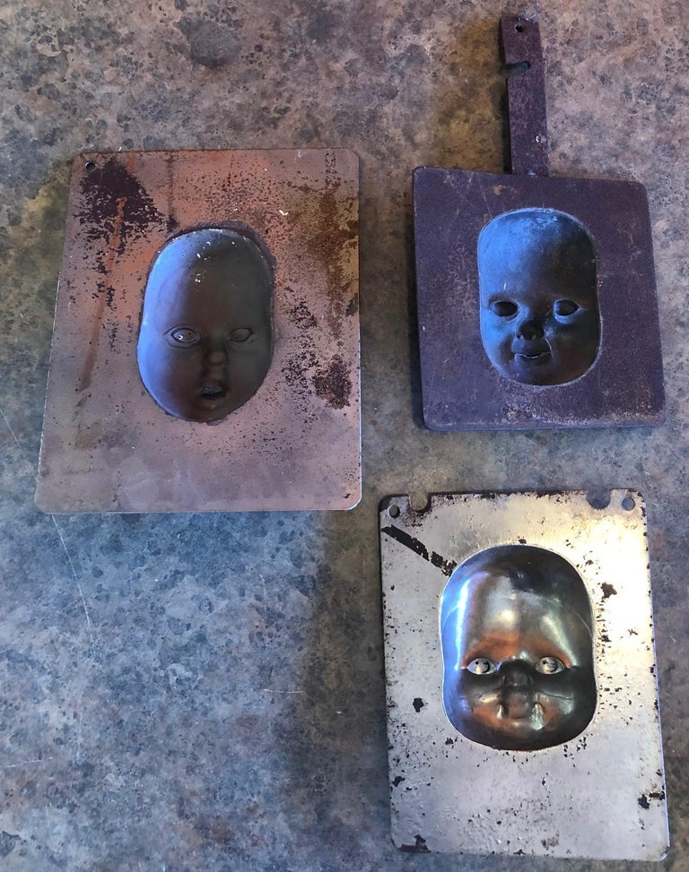 Set of Three Vintage Doll Head / Face Molds Steampunk For Sale 6