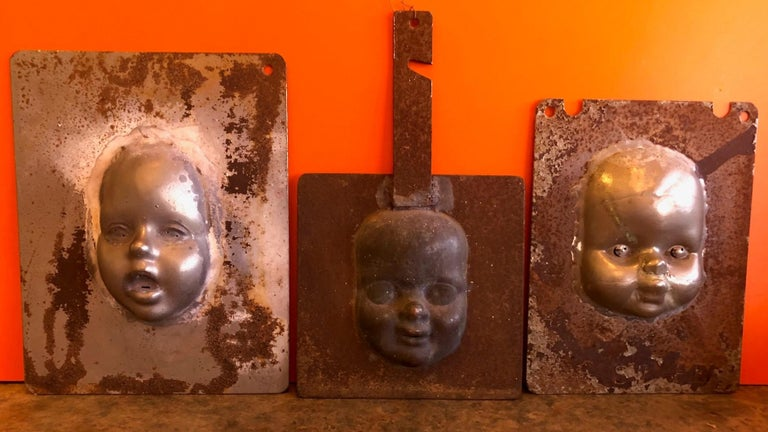 American Set of Three Vintage Doll Head / Face Molds Steampunk For Sale