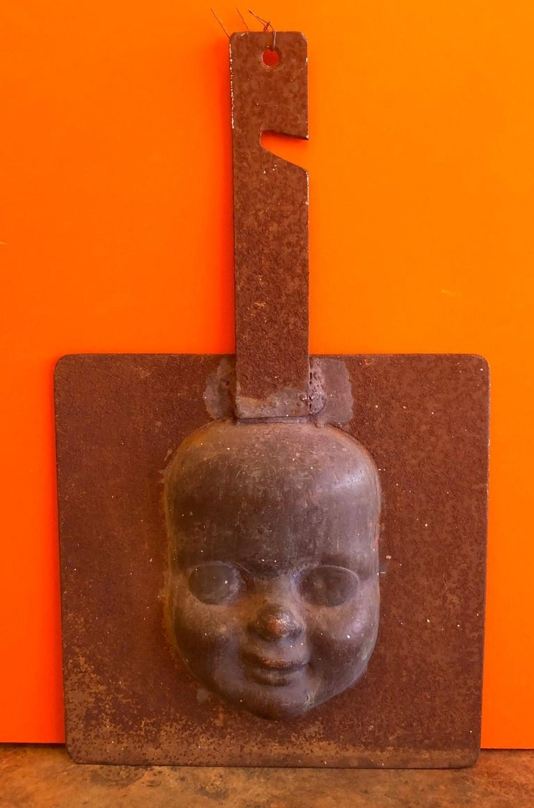Metal Set of Three Vintage Doll Head / Face Molds Steampunk For Sale