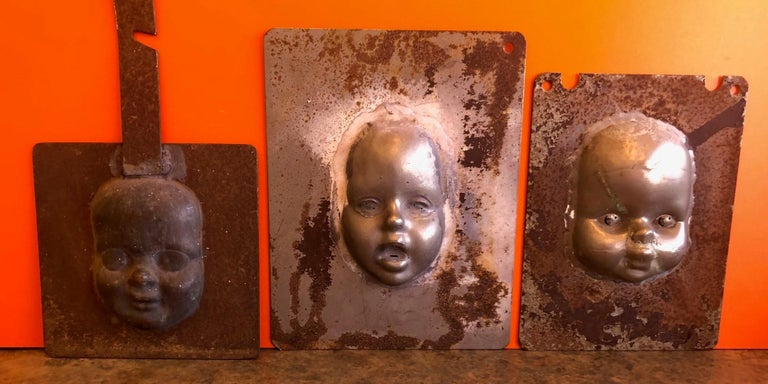 Set of Three Vintage Doll Head / Face Molds Steampunk For Sale 3