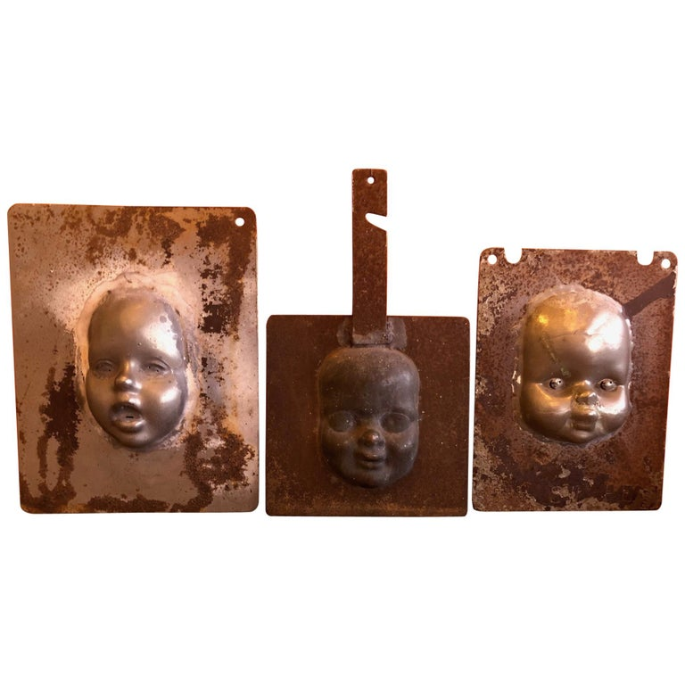 Set of Three Vintage Doll Head / Face Molds Steampunk For Sale