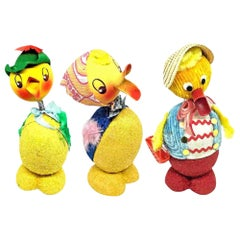 Set of Three Vintage Duck Easter Candy Container Bobble Head, German, 1950s
