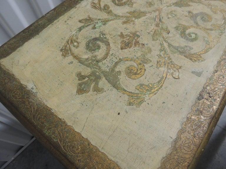 Set Of Three Vintage Florentine Gold Leaf Nesting Tables