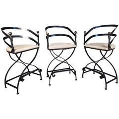 Set of Three Vintage Iron Barstools