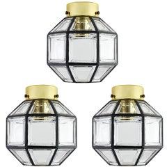 Set of Three Vintage Iron & Clear Glass Flush Mount Lights by Limburg circa 1965