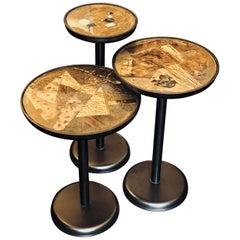 Set of Three Vintage Italian Iron, Brass, Enamel & Transparent Resin Side Tables