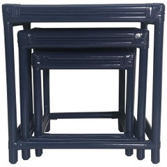 Set of Three Vintage Lacquered Rattan Navy Nesting Tables