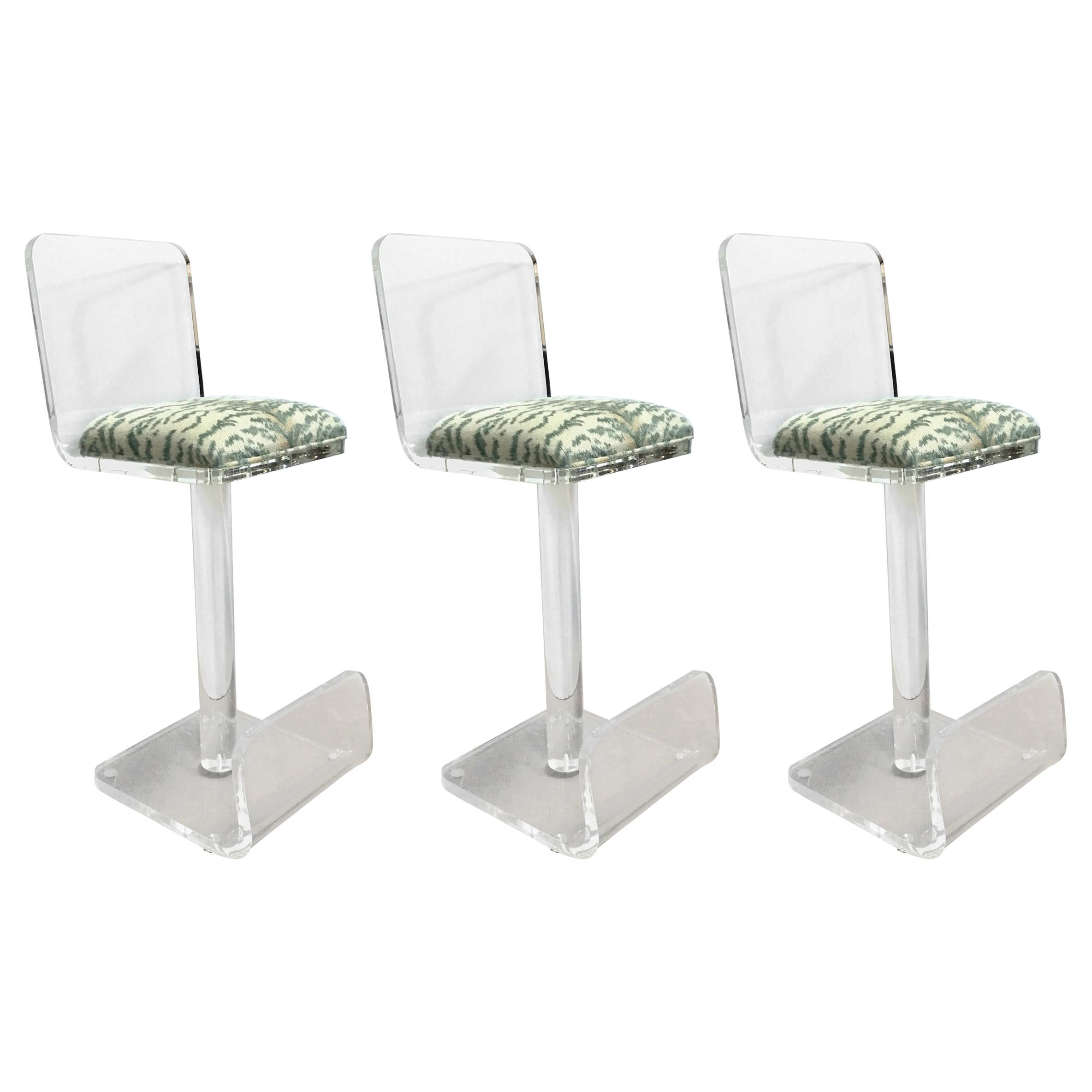 Set Of Three Vintage Lucite Bar Stools, Newly Upholstered Seat