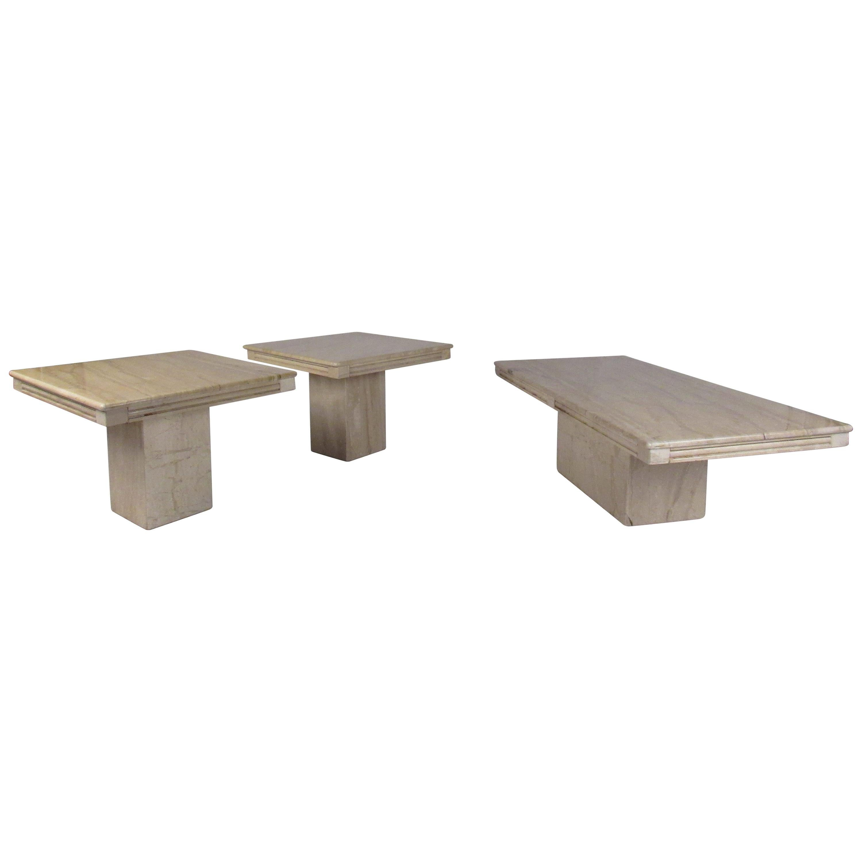 Set of Three Vintage Modern Marble-Top Tables