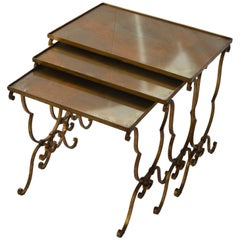 Set of Three Vintage Nesting Metal Mounted Tables with Oxidized Glass Top