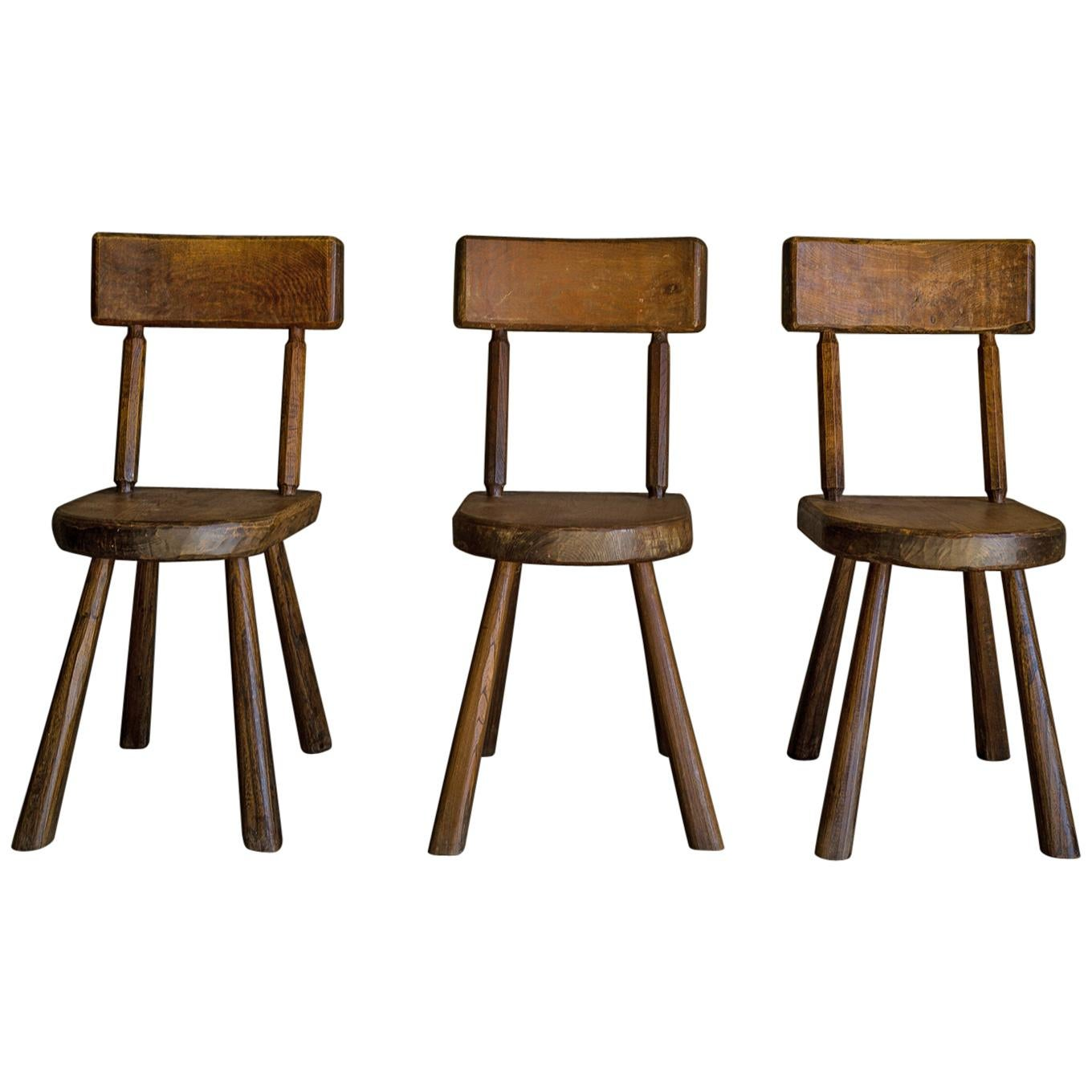 Set of Three Vintage Oak Chairs from France, circa 1950