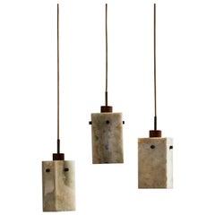 Set of Three Vintage Onyx Pendants