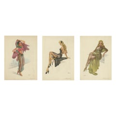 Set of Three Vintage Pin-Up Model Lithographs by Lopez Alonso 'circa 1950'