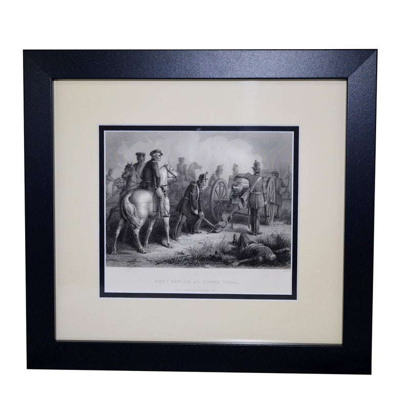 Set of three antique prints  - Fall of Major Ringold - Gen'l Taylor at Buena Vista - Col Miller at the Battle of Chippewa Prints independently measure: 11.75