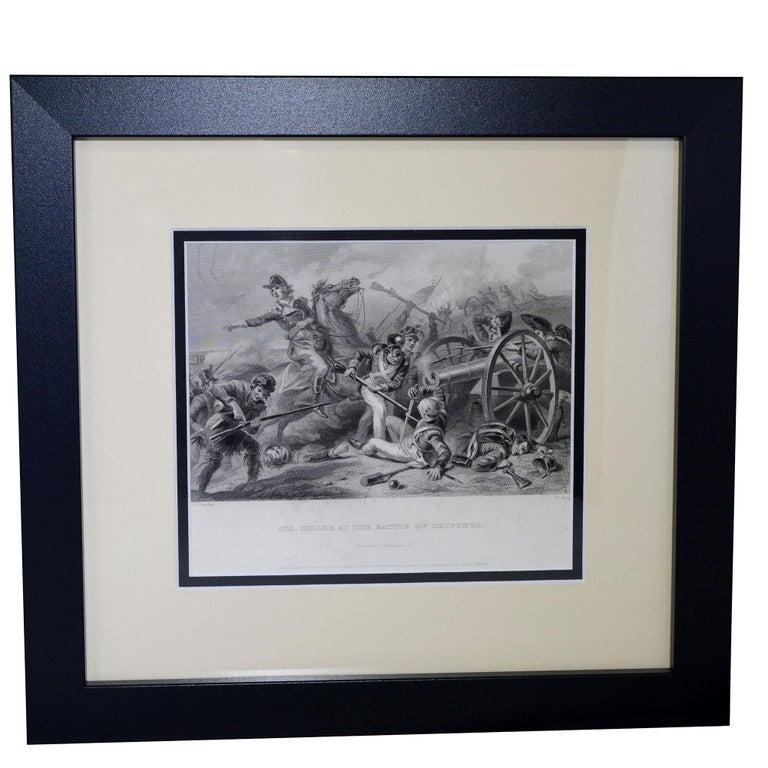 North American Set of Three Vintage Prints Major Ringold, Gen'l Taylor, Col Miller Black Frame For Sale