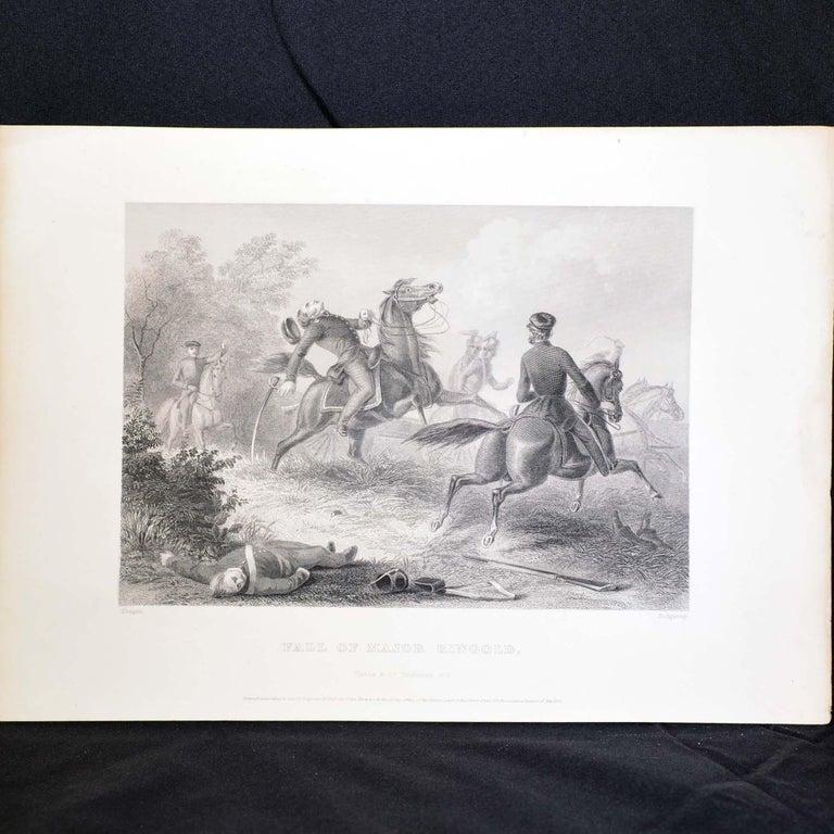 Wood Set of Three Vintage Prints Major Ringold, Gen'l Taylor, Col Miller Black Frame For Sale