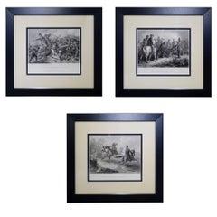 Set of Three Vintage Prints Major Ringold, Gen'l Taylor, Col Miller Black Frame