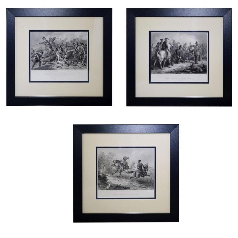 Set of Three Vintage Prints Major Ringold, Gen'l Taylor, Col Miller Black Frame For Sale