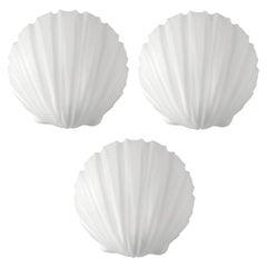 Set of Three Vintage White Glass Shell Wall Lights Flush Mounts, 1960s