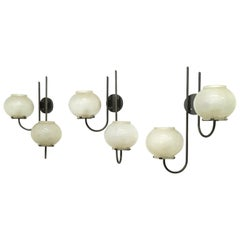 Set of Three Wall Lights mod, 1136/2 by Tito Agnoli for O-Luce, Italy, 1961