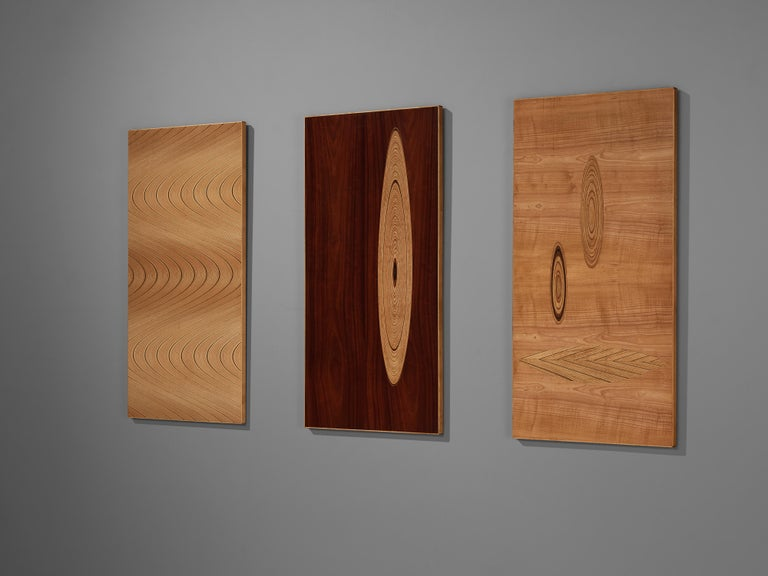 Tapio Wirkkala for Asko, set of three wall panels, birch, plywood, Finland, 1950s