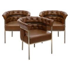 "Set of Three ""Weston"" Leather Vintage Armchairs"