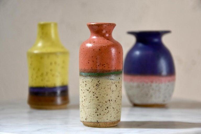 Set Of Three Wheel Thrown Ceramic Stoneware Mini Bottles