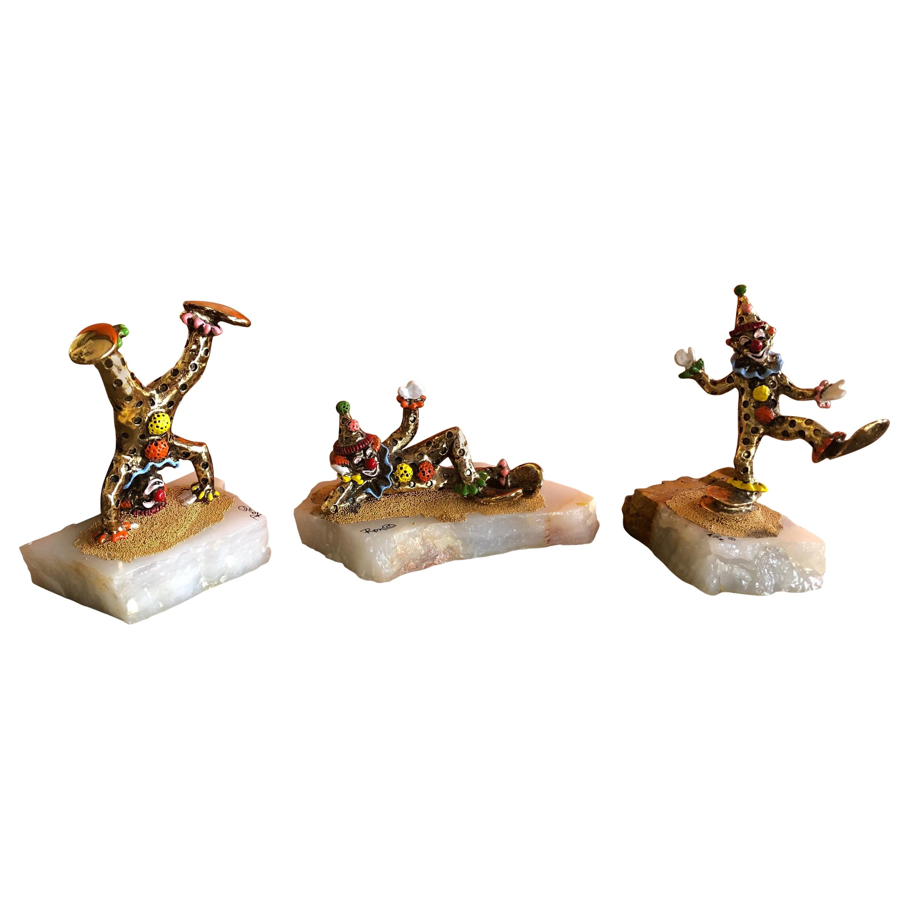 Set of Three Whimsical Bronze Clown Sculptures with Enamel Highlights by Ron Lee