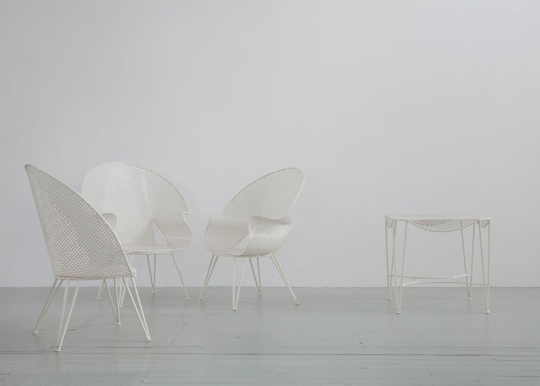 Italian Set of Three White Garden Chairs and a Fitting Side Table from Italy, 1950 For Sale