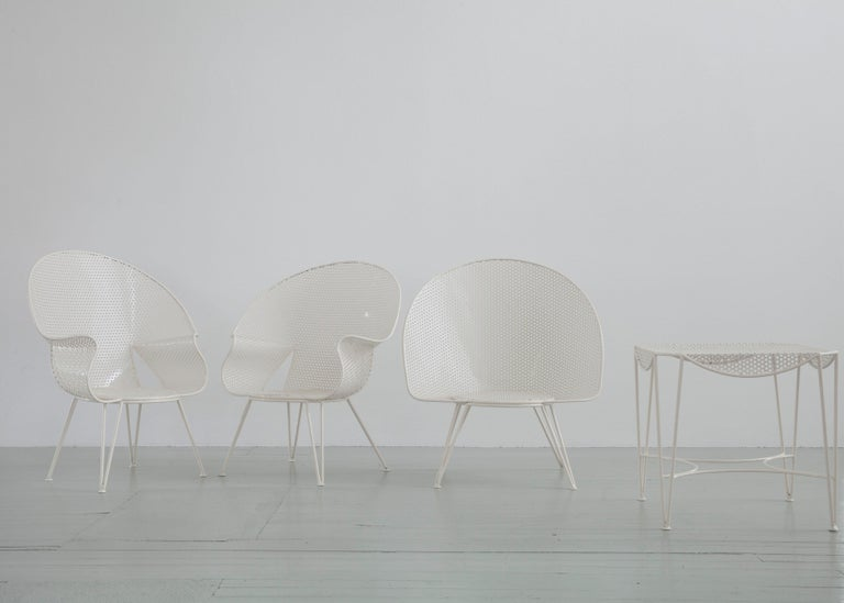 Lacquered Set of Three White Garden Chairs and a Fitting Side Table from Italy, 1950 For Sale