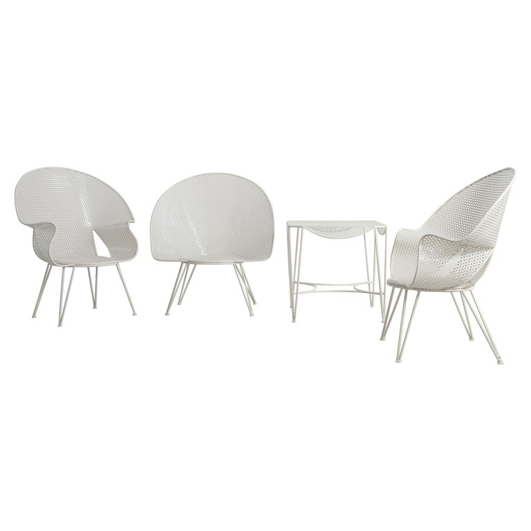 Set of Three White Garden Chairs and a Fitting Side Table from Italy, 1950 For Sale