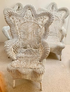 Set of Three White Victorian Wicker Chairs