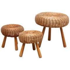 Set of Three Wicker Three Legged Stools in the Manner of Charlotte Perriand